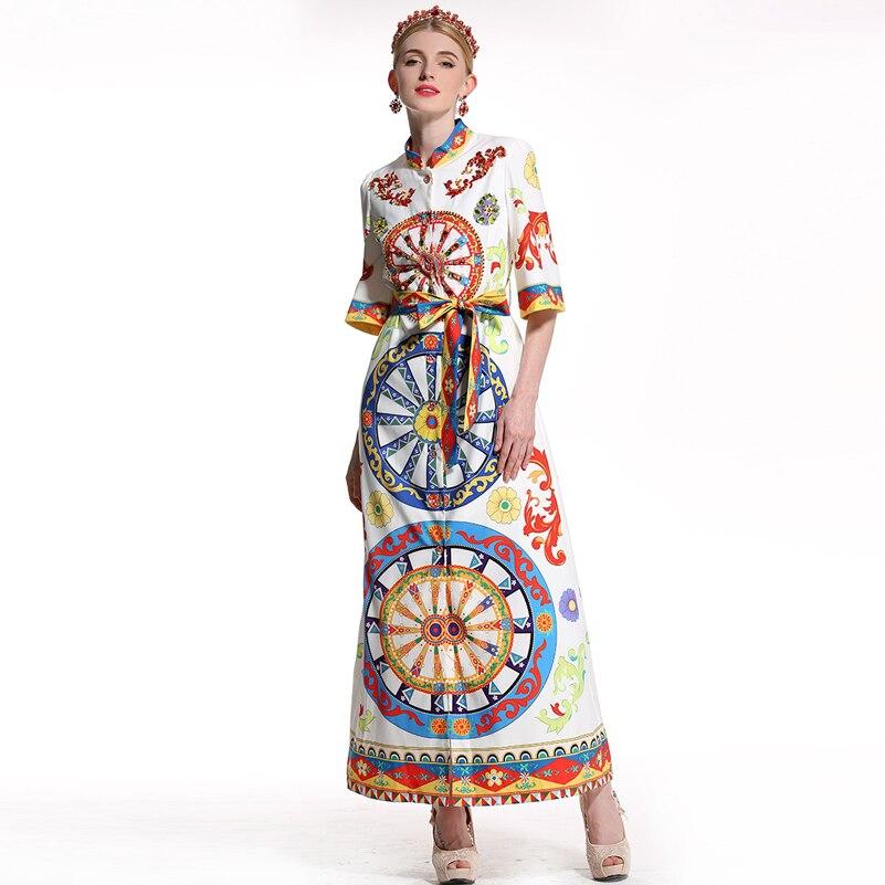 Cristal En Femmes Imprimer De Luxe Courtes Vintage Nouvelle Motif Mode Noir Parti Maxi Appliques Perles Designer Robes Robe Longue Manches xXfgOqw7