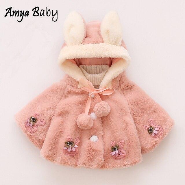 44f70b4e4 Amyababy niño niña invierno abrigo de conejo de dibujos animados manga  larga Pieles de animales bebé