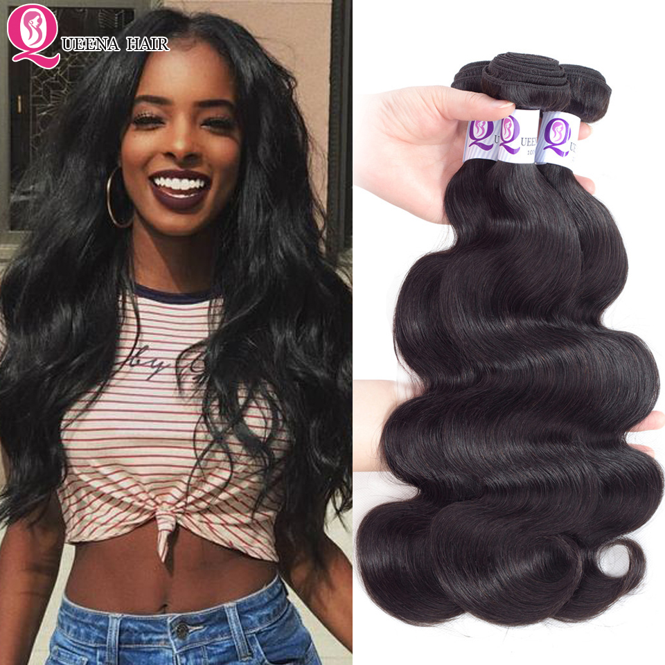 Queena Raw Indian Body Wave Hair Bundles Remy Natural Color Hair Extensions 100% Human Hair Weaving 3/ 4 Bundles Deals 8-26 Inch