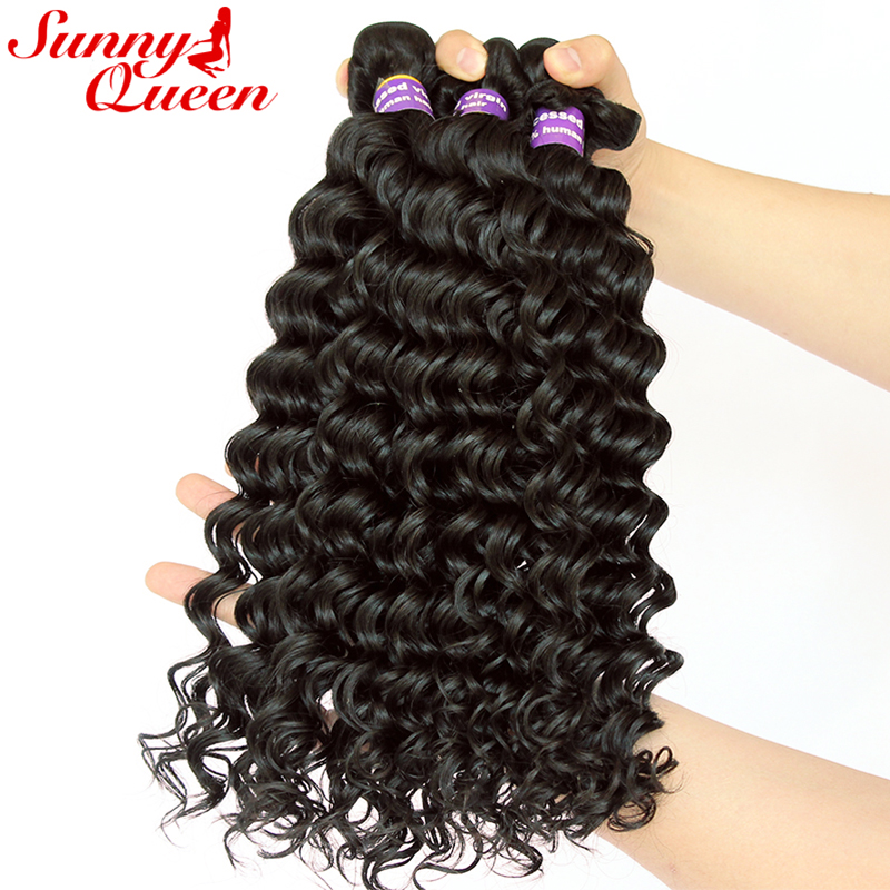 Deep Wave Brazilian Remy Human Hair Weave Bundles 100% Human Hair Extensions 3pcs Human Hair Bundles Sunny Queen Hair Products