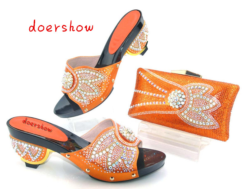 doershow African Style Nice-looking Italian matching shoes and bag set ladies shoes and bag to match for Nigerian wedding AS1-12 doershow african shoes and bags fashion italian matching shoes and bag set nigerian high heels for wedding dress puw1 19