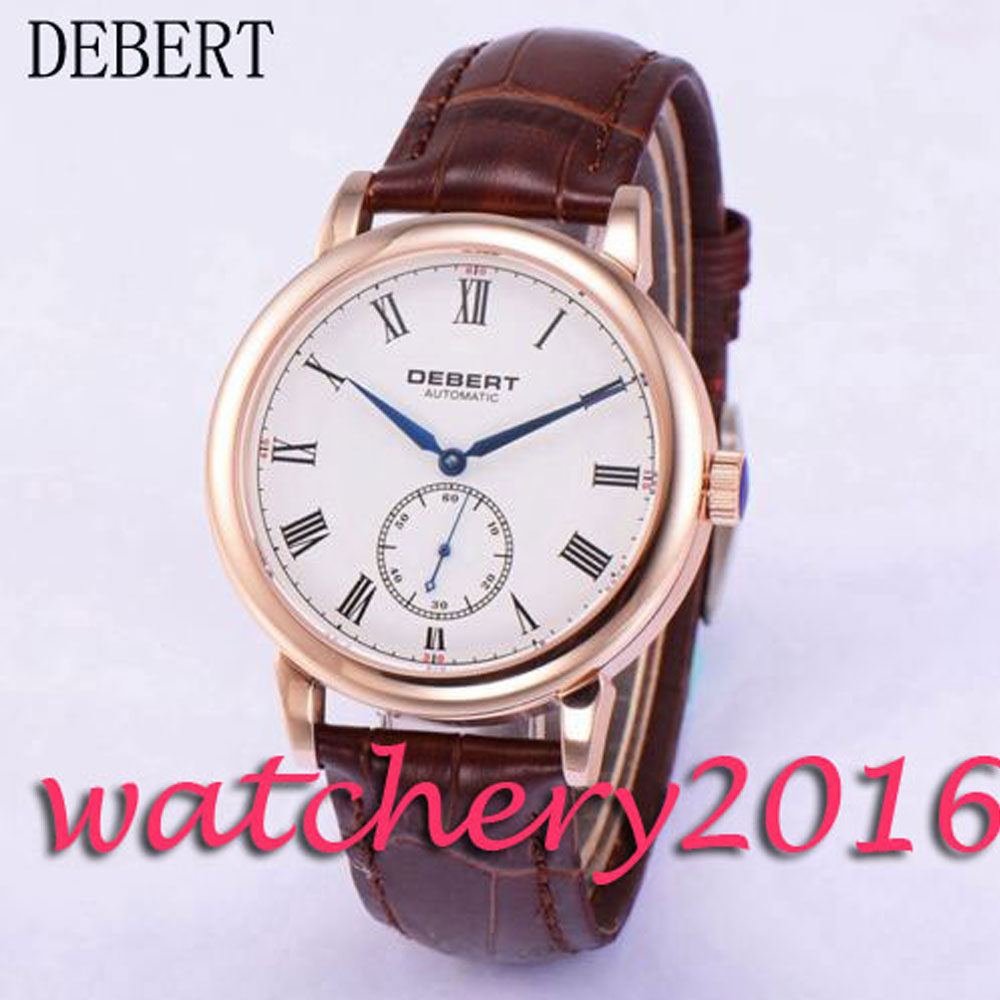 Casual 40mm Debert white dial rose golden case blue markers Automatic movement men's Watch коньки onlitop 223f 37 40 blue 806164