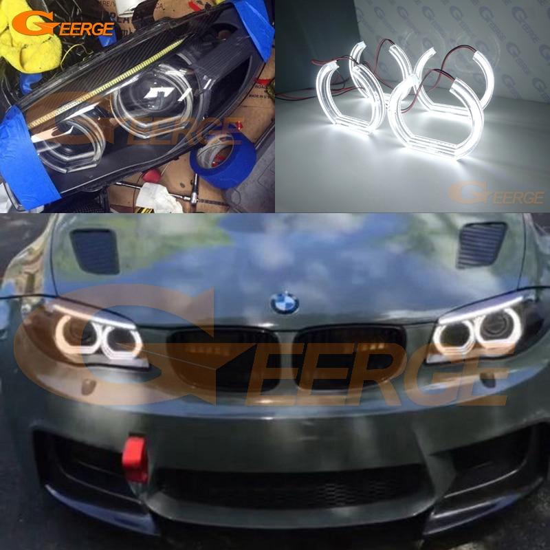 For BMW 1 Series E82 E88 E87 E81 2008 2009 2010 2011 xenon headlight Excellent DTM Style Ultra bright led Angel Eyes kit car styling trunk lid rear emblem badge chrome letters sticker 125i 128i 130i 135i for bmw 1 series f20 f21 e81 e82 e87 e88