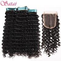 Satai Deep Wave Human Hair Bundles With Closure Middle Part 3 Bundles With Closure Brazilian Hair