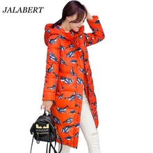 2016 winter women new long section thick knee bird print fashion hooded down cotton jacket female big sizes long section coat