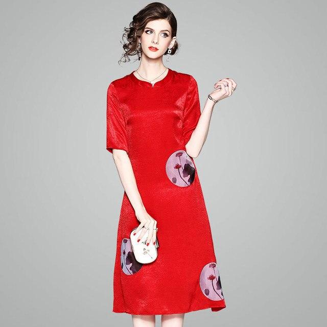 2018 New Arrival Feaday Office Lady A-line Print Short Embroidery Knee-length Regular Silk Cheongsam Dresss Summer Dresses