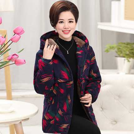 ФОТО Mother Clothing 2016 New Vintage Print Hooded Thicken Parkas Coat Fashion Middle Age Women Winter Cotton Padded Jackets A4292