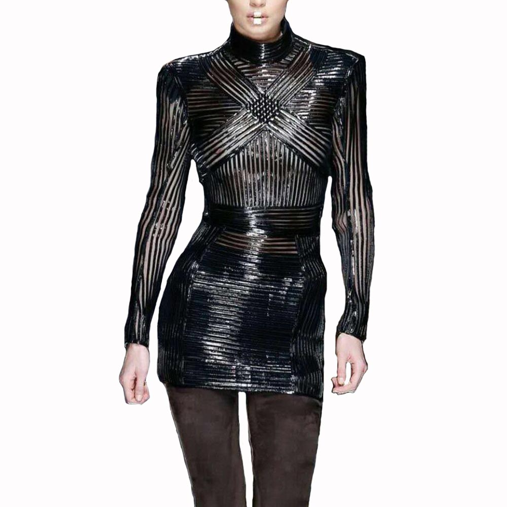 2018 New Arrival Black Sexy Women Party Dress Long Sleeve Mesh PU Leather Striped Bodycon Vestidos Celebrity Women Dress ...