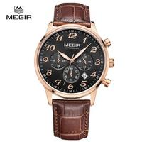 MEGIR Luxury Military Chronograph Quartz Watch Men Fashion Casual Analog Leather Wristwatch Waterproof Free Shipping 2022