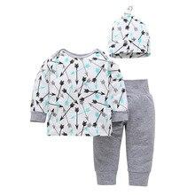 Весенне-осенний комплект одежды для новорожденных из 3 предметов, белый комбинезон со стрелами+ шапка+ штаны, комплект для маленьких девочек