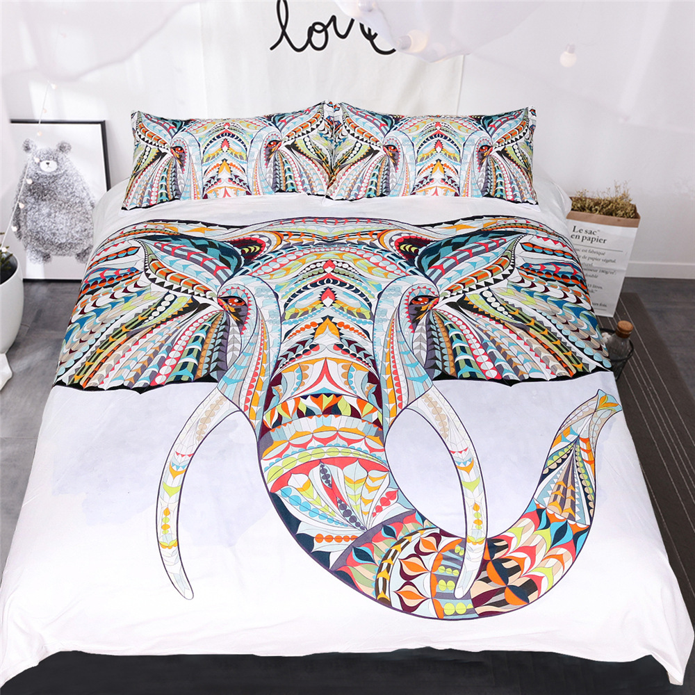CAMMITEVER Elephant Bedding Set Cartoon Animal Print for Kids Duvet Cover With Pillowcases Single Bed Set Home TextilesCAMMITEVER Elephant Bedding Set Cartoon Animal Print for Kids Duvet Cover With Pillowcases Single Bed Set Home Textiles