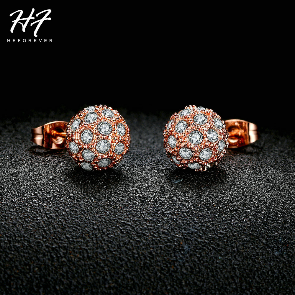 Top Quality E381 Lucky Ball Crystal Rose Gold Color Stud Earrings Jewelry Austrian Crystal Wholesale