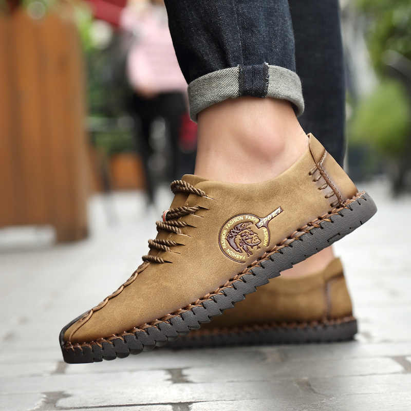 LAKESHI 2019 Mode Schoenen Mannen Volledige Handtailor Vintage Sneakers Huarache Mocassins antislip Super Hot Flats Mannen Loafers