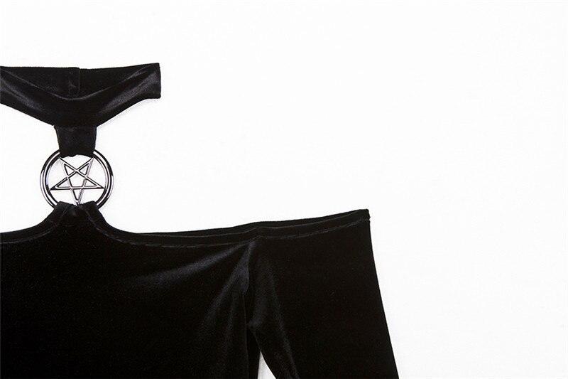 Summer Velvet Dress Women Retro Harajuku Sexy Black Long Sleeve Halter Dress 5