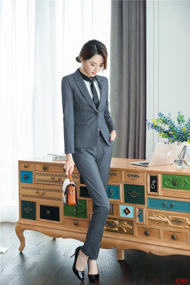 Dames Gris Veste Styles Formelle D'affaires Uniforme Ensembles Pantalon Bureau Blazer Work Wear Costumes Femmes Et adAqw