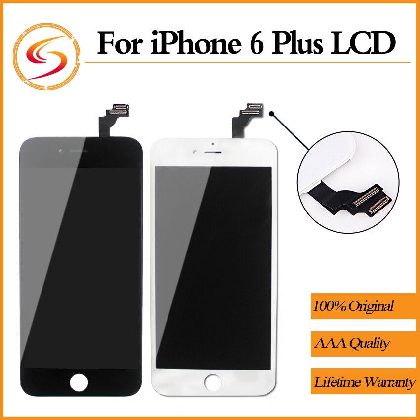 imágenes para 5 unids/lote para iphone 6 plus lcd con pantalla táctil digitalizador asamblea reemplazo de la exhibición no dead pixel 5.5 pulgadas envío gratis