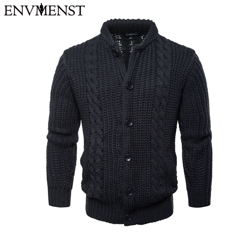 Envmenst Men Cardigan Sweater Fashion Winter Warm Knitted Sweatercoat Casual Male Botton Coat Men's Outwear Cardigan Sweaters