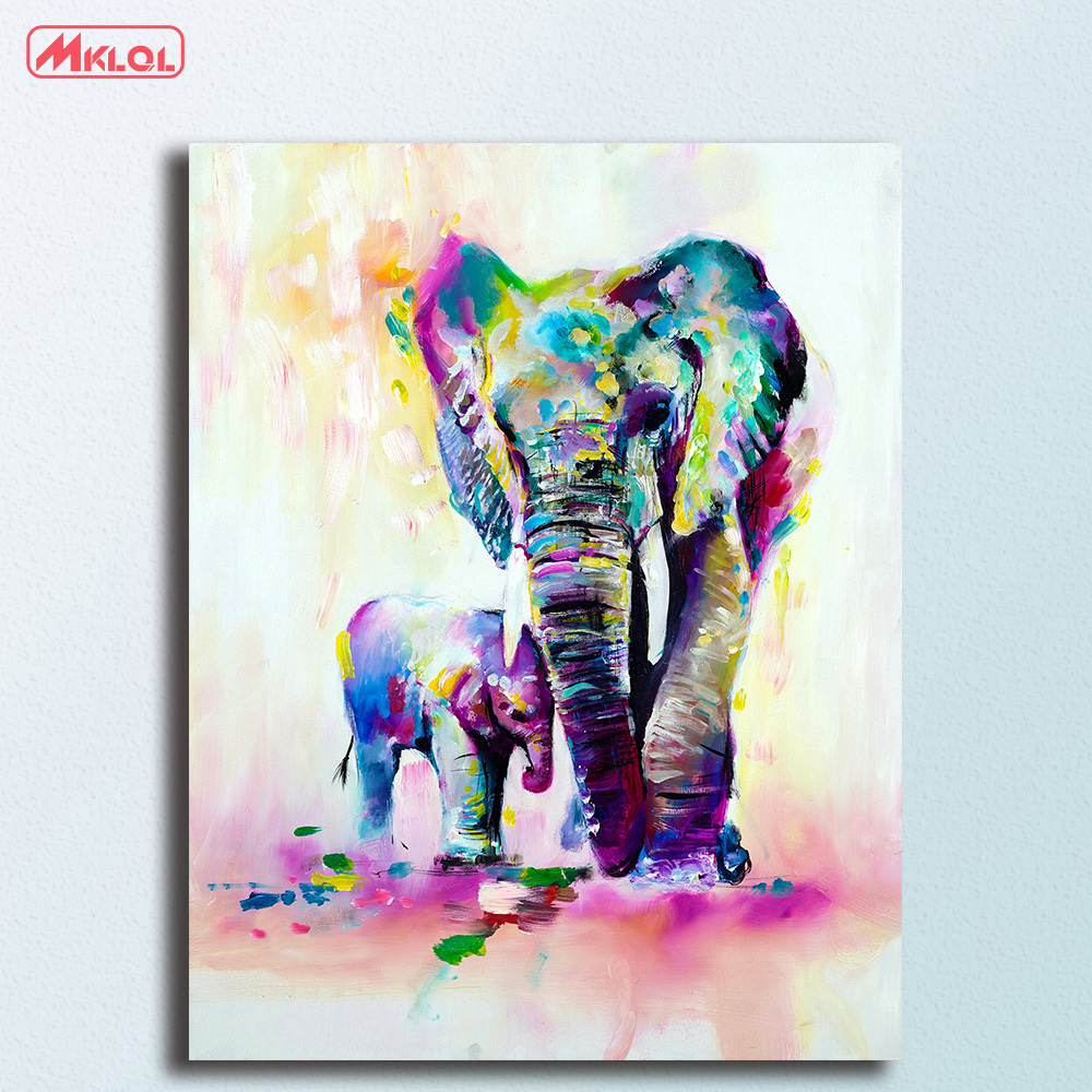 Wall art Elephant with son pop art Canvas Painting For Living Room Home Decoration Oil P ...