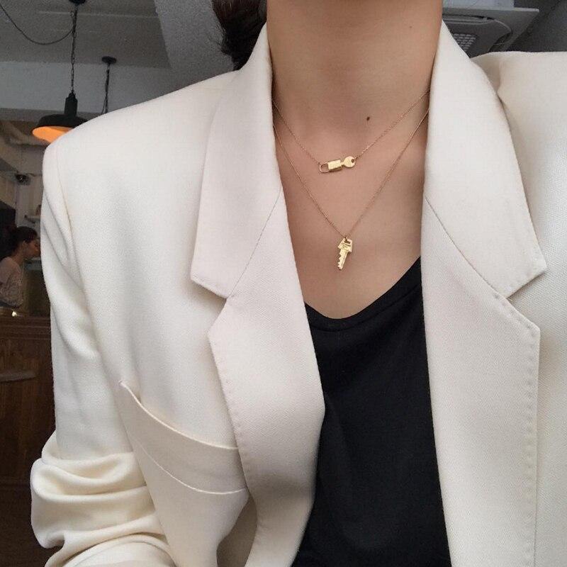 8fe4996bda76 Perisbox collar con colgante de llave de Color dorado para mujer 925 dijes  de plata de ley collares con gargantilla de capas minimalista