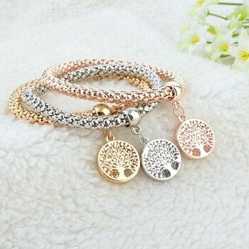 Designer-Austrian-Rhinestones-Gold-Tree-of-Life-Charm-Popcorn-Chain-Bracelet-4