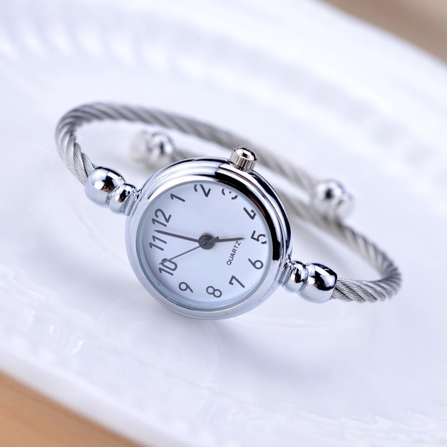 Sadə gümüş qadınlar zərif kiçik qolbaq qadın saatı 2018 BGG - Qadın saatları - Fotoqrafiya 4