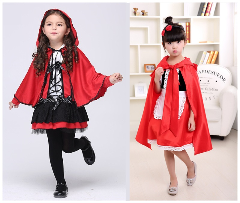 Children's Halloween Small Red Cap costumes Girls red devil cosplay show Cardinal Little Red Riding Hood costume
