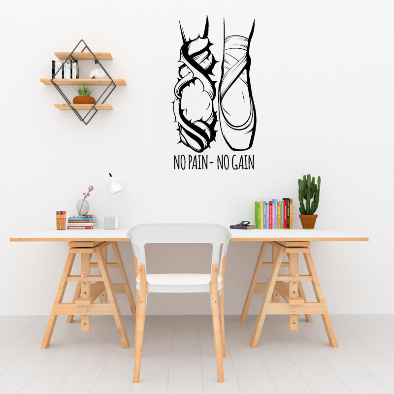 Home & Garden Lower Price with Stizzy Wall Decal Ballet Dancer Legs Pattern Wall Sticker Motivation Quote No Pain No Gain Girls Bedroom Ballet Studio Decora641 More Discounts Surprises