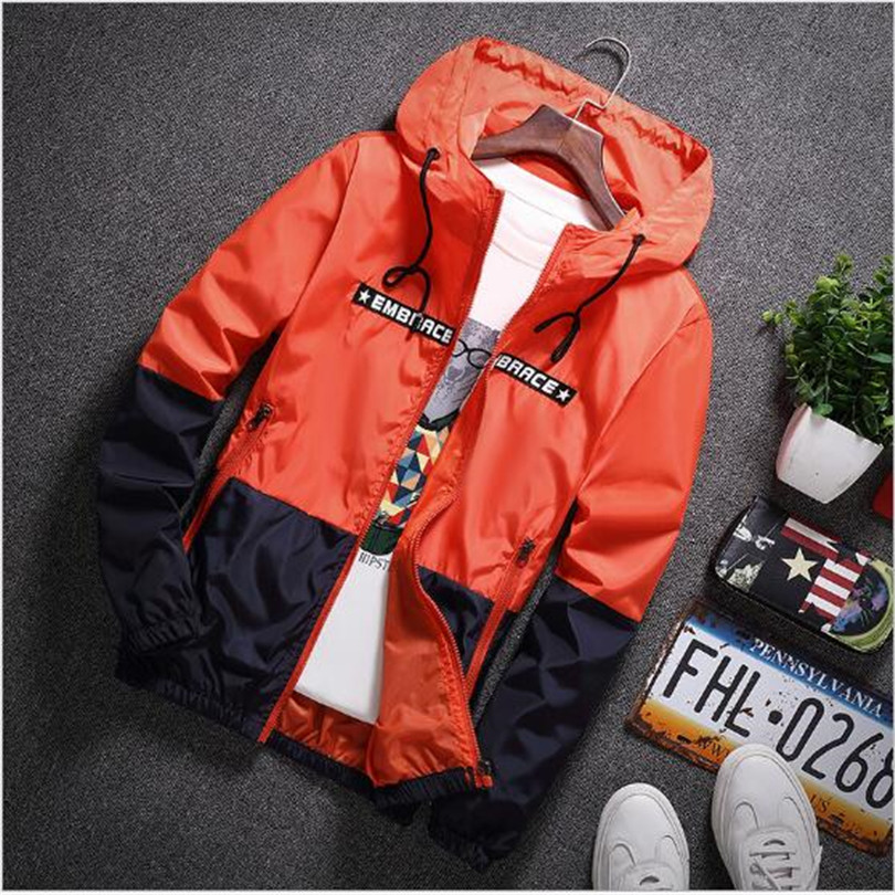 New Spring Autumn Bomber Hooded Jacket Men Casual Slim Patchwork Windbreaker Jacket Male Outwear Zipper Thin Coat Brand Clothing #5