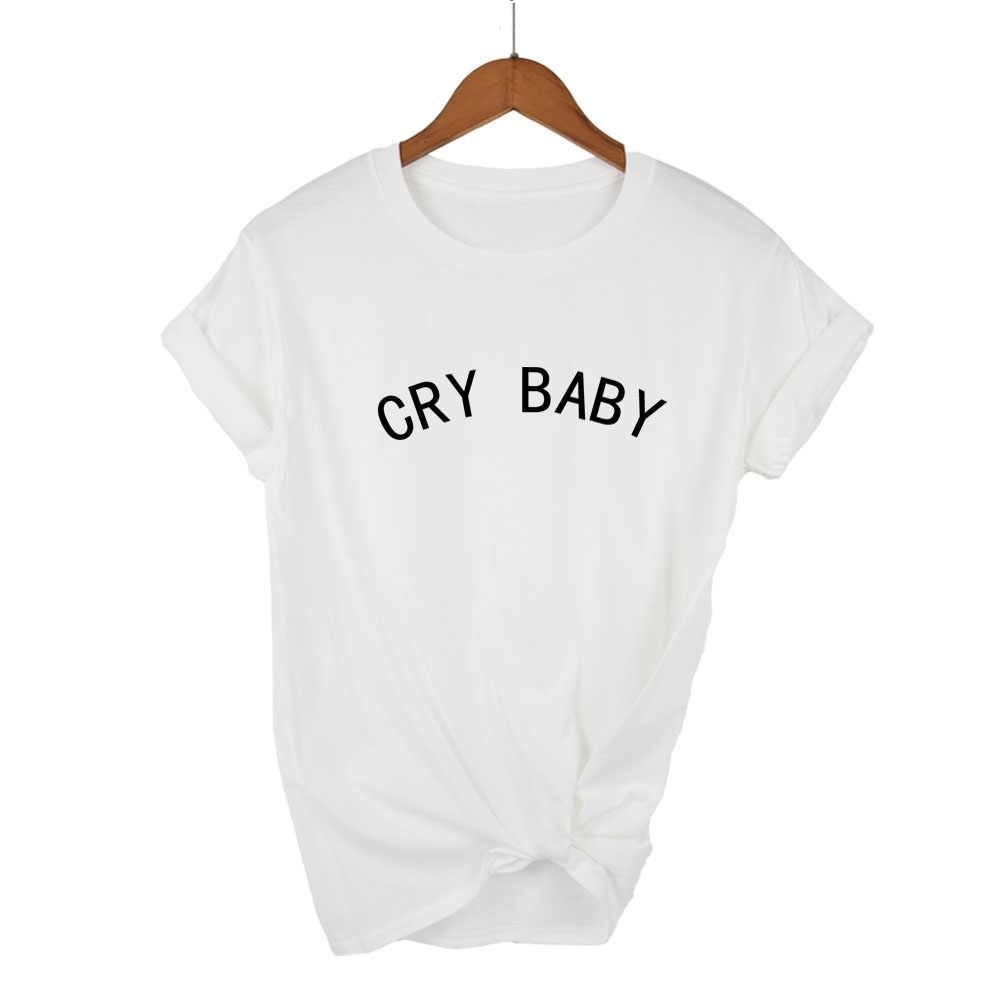 7cd00bb18 ... Women T shirt Melanie Martinez Cry Baby Pink Letters Print Cotton  Casual Funny Shirt Lady Black ...