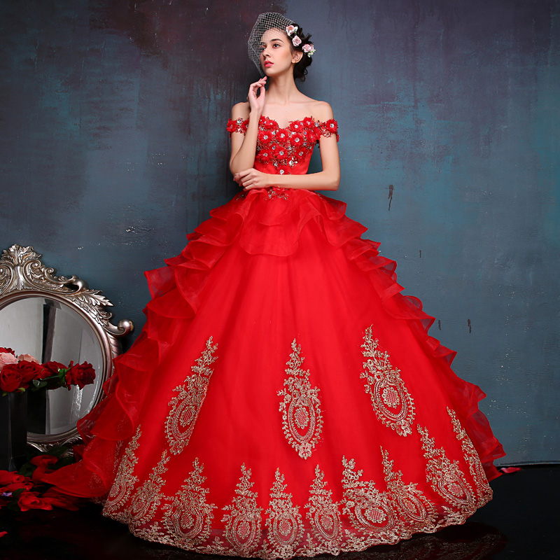 Classic Female Adult Off The Should Red Embroidery Appliques Marie Antoinette Dresses Stage Show host Ball Gown