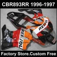 Пользовательские бесплатно послепродажного обтекатель части для HONDA 1996 1997 CBR900RR repsol тела CBR 893 обтекатели CBR 893RR 96 97 fireblade комплект