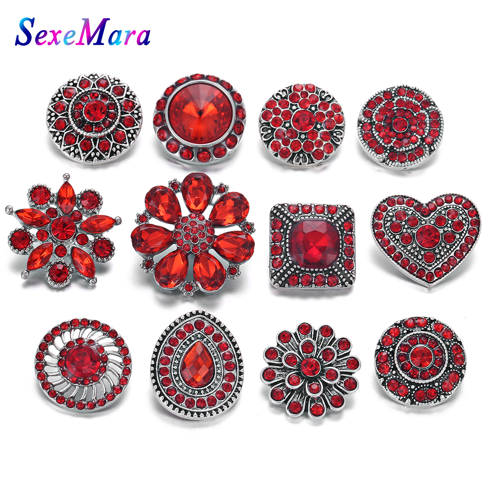 10pcs/lot Mixed Red Rhinestone Styles Metal Charms 18mm 20mm Snap Button Jewelry for Snap Bracelet DIY Snaps Jewelry