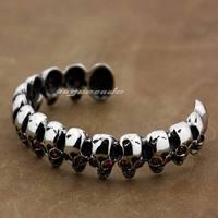 316L Stainless Steel Skulls Red CZ Eyes Mens Biker Bangle Bracelet 5J029