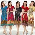 Longa De Algodão mulheres Camisola Sleepshirt Floral Camisa de Manga Curta Camisola Em Torno Do Pescoço Vestido de Noite de Moda Noite Vestido de Sono