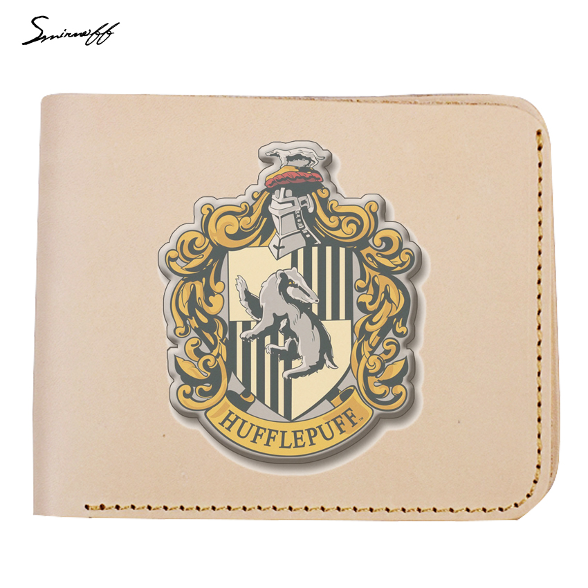 Handmade Harry Potter Purse Women and Men Genuine Leather Wallet Harry Potter Magic School Short Purse Slim Leather Wallet hp7 harry potter and the deathly hallows harry potter resin magic wand