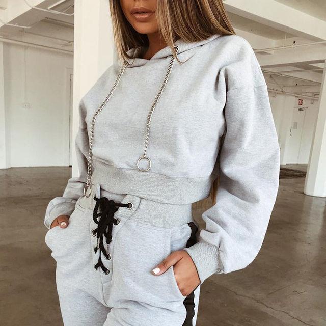 fd4fa4be 2Pcs Women Autumn Tracksuit Long Sleeve Pullover Hoodies Sweatshirt Pants  Sets Sport Wear Casual Suit Sweats-in Women's Sets from Women's Clothing ...