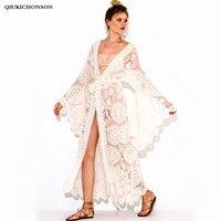 Oymak Nakış Beyaz Dantel Hırka Kadın Seksi Bohem Plaj Kimono Üstleri Yaz Uzun Parlama Kollu Dantel Gömlek Uzun Tunik
