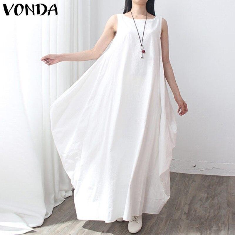 9ef87e4bb2 VONDA Pregnant Women 2018 Summer Sexy Casual Loose leeveless Maxi Long Dress  Maternity Clothings Pregnancy Female