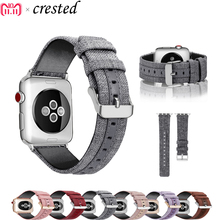 купить Leather Strap For Apple watch band 42mm 38mm iWatch Band 44mm 40mm Luxury Leather+canvas watchband bracelet Apple watch 4 3 2 1 по цене 446.15 рублей