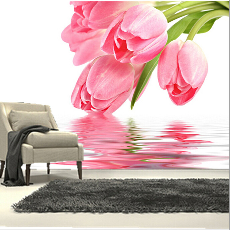The custom 3D murals,beautiful fresh tulip on the water surface ,living room sofa TV wall bedroom background wall paper the custom 3d murals the new york times center building street black and white living room sofa tv wall bedroom wall paper