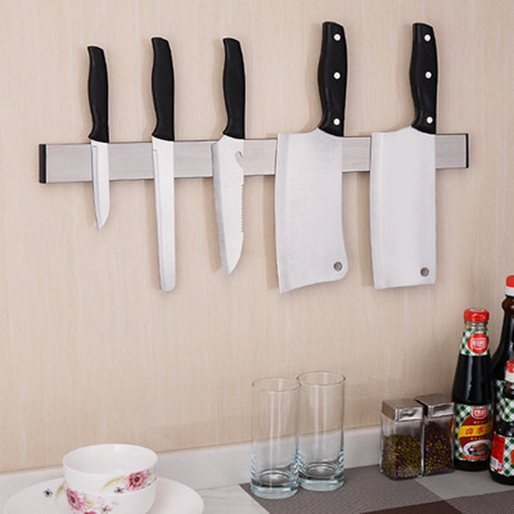Stainless Steel Kitchen Magnetic Wall  Knife Holder Rest Stand For Knives 2 Installation Methods Bar Storage Block Knife Holder