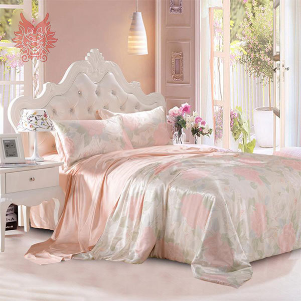 Luxury pink floral print 19mm natural silk bedding sets duvet cover set ropa jogo de cama sik juego de cama king queen SP1371