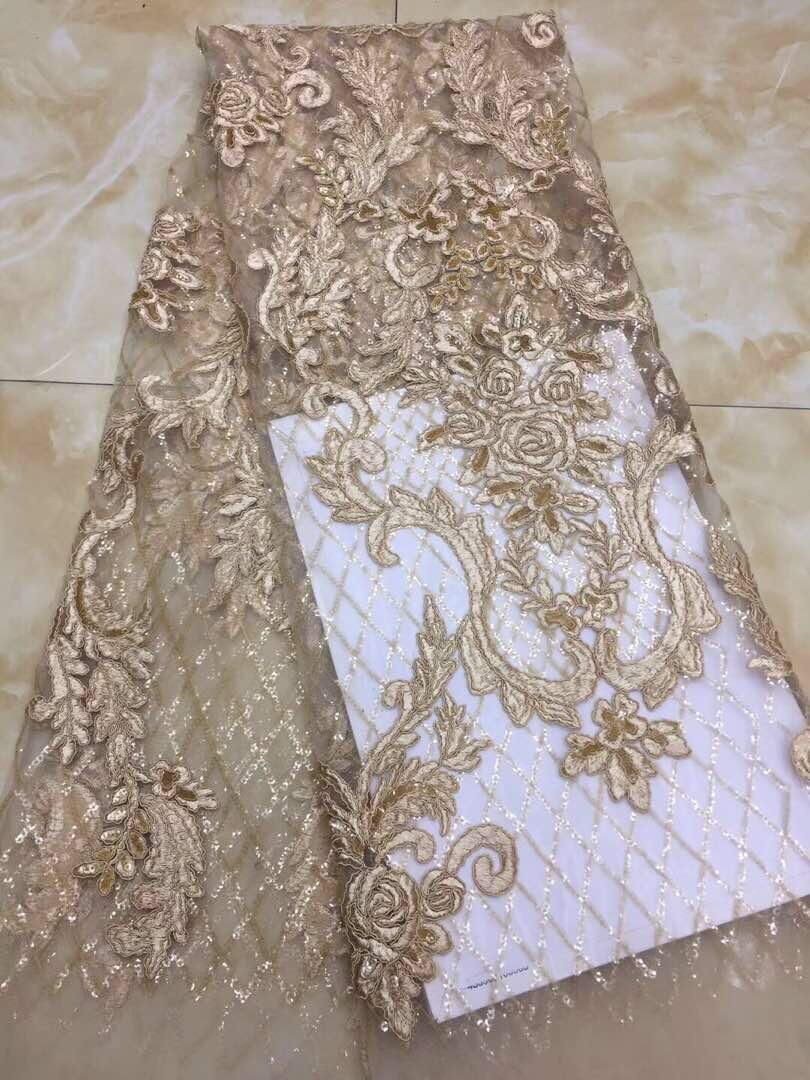 Newest French net lace with sequins super quality embroidered lace fabric for party dress