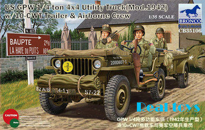 With 1//4Ton Neu Bronco Cb35170-1//35 6 Pdr Anti-Tank Gun Airborne
