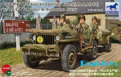 Bronco model CB35106 1/35 US GPW 1/4 ton 4X4 Utility Truck (Mod.1942) w/Crew plastic model kit bronco model cb35020 1 35 german land wasser schlepper lws limited edition plastic model kit