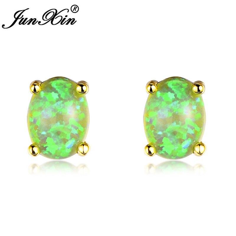 JUNXIN Mystic Blue/Green/White Fire Opal Stud Earrings For Women Men Yellow Gold Filled Oval Stone Rainbow Birthstone Earrings