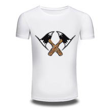DY-189 Hotsales Mens Axe Printing Tee Shirt Casual Short-Sleeve 100%Cotton Tshirts Men