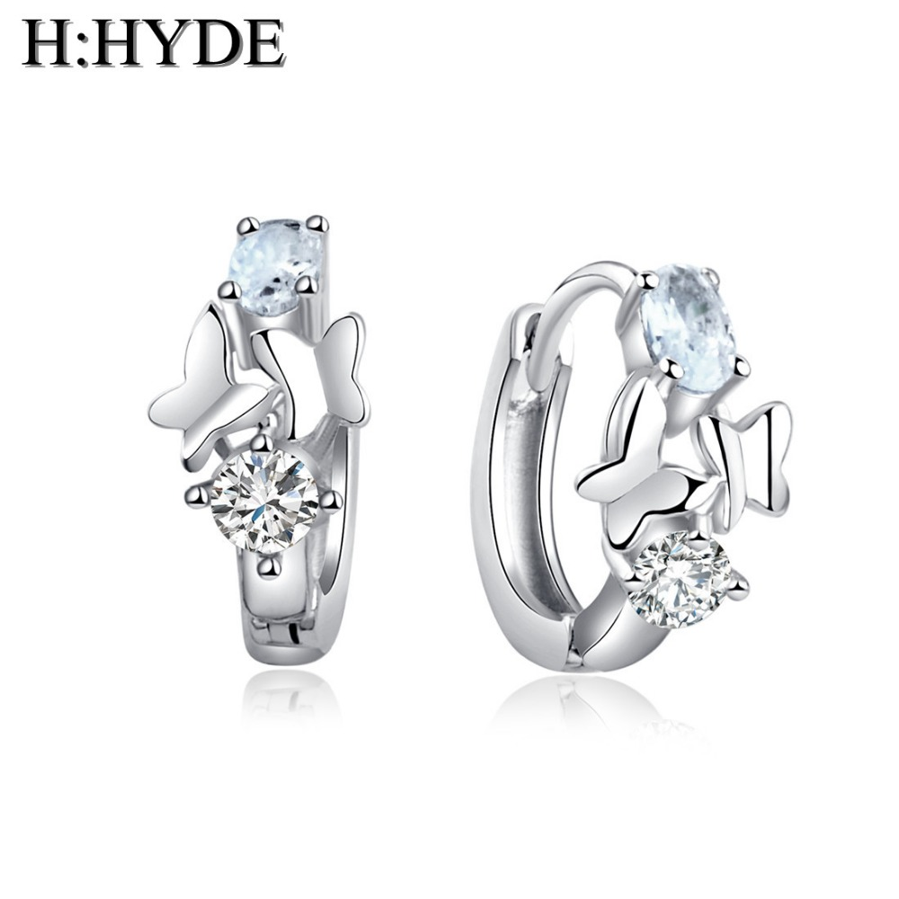 H:HYDE High Quality White Gold Color CZ Zircon Flower Hoop Earrings For Women Fashion Wedding Fine Jewelry Earring brincos