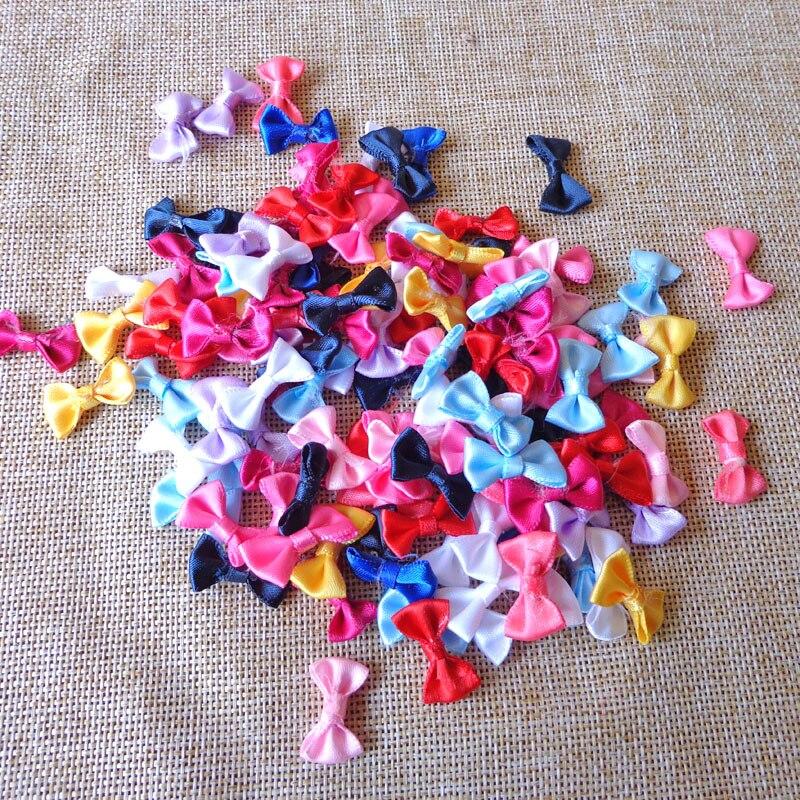 50pcs 2cm Multi Colors Small Mini Handmade Applique Bow Tie for DIY Decoration Craft Bow Tie Badges Wedding Birthday Party Decor