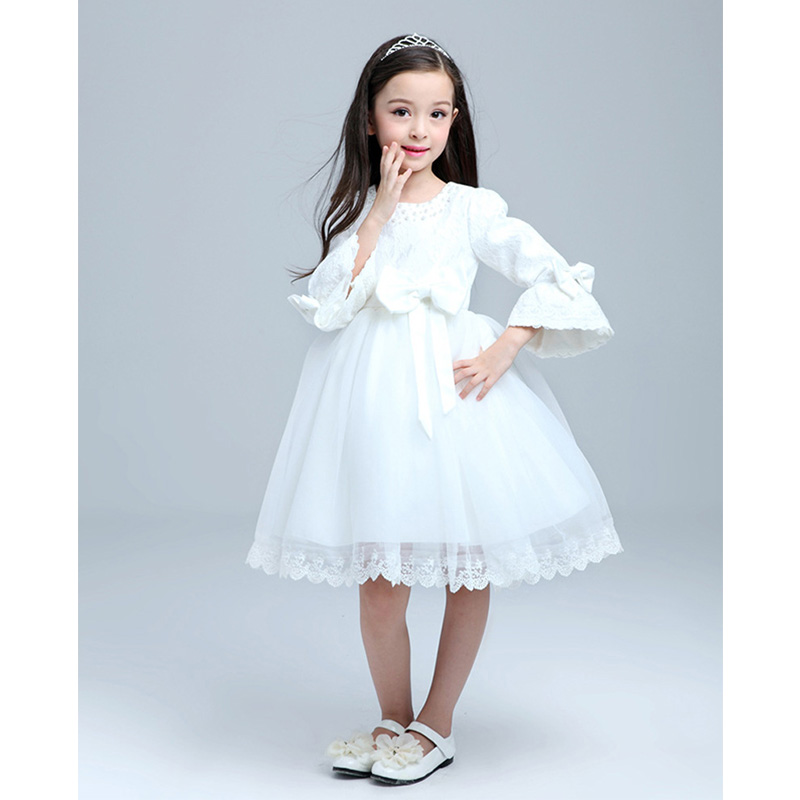 Kids long sleeve white dress big bow girls lace wedding dress flower kids long sleeve white dress big bow girls lace wedding dress flower girl dresses for birthday party in dresses from mother kids on aliexpress mightylinksfo
